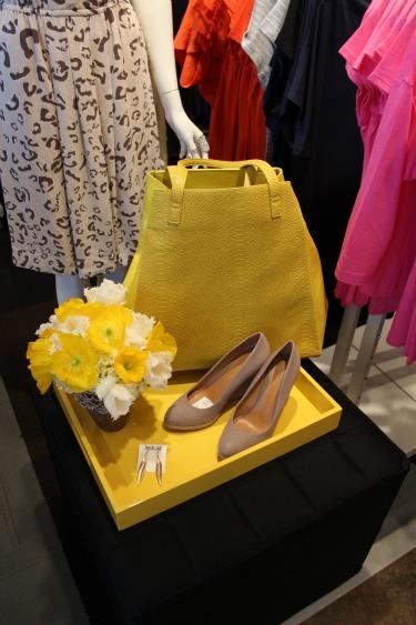 Yellow Handbag, Tan Wedge Shoes, Last Call Studios, Yellow Poppies, Fringe Tulips