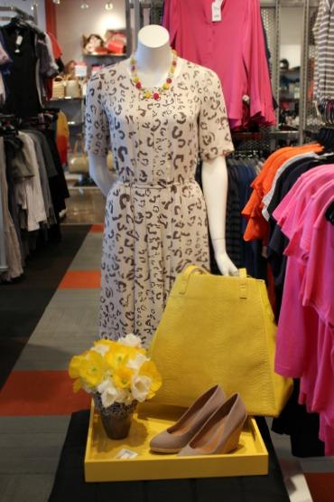 Yellow Handbag, Tan Wedge Shoes, Last Call Studios, Yellow Poppies, Fringe Tulips, Animal Print Dress