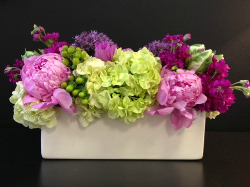 Pink Peonies, Lime Green Hydrangeas, Parrot Tulips, Purple Stock and Allium Gigantum