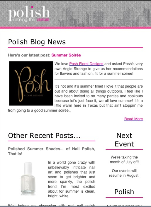 Polish Ministries, Women's Networking Dallas, Posh Floral Designs, Guest Blogger, Dallas Blogger