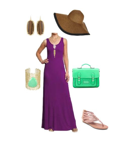 Purple Sundress, Old Navy, Kendra Scott, Sun Hat, Green Bag,
