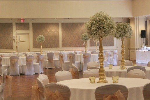 Baby's breath arrangements, Candelabras, White Bouquets, Vintage Wedding