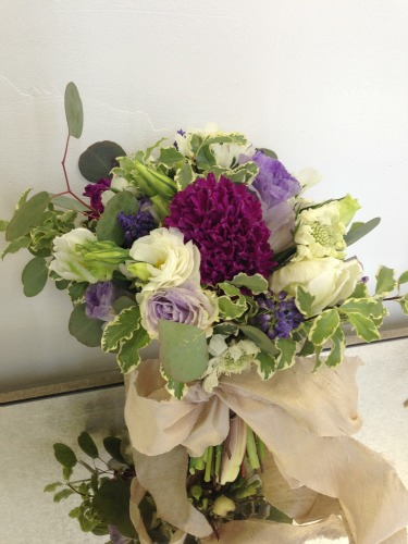 White Lisanthus, Purple Hycinth, Purple Lisianthus, White Scabiosia,