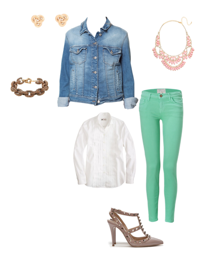 School Outfits, Mint green Pants, Jcrew, Valentino, Bauble Bar,