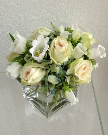 Posh Floral, Posh Floral Designs, Yellow Bell Flowers, Green Hydrangeas, Dutch Hydrangeas, Antique Hydrangeas, Pink Roses, White Ohara