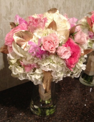 Golden Bouquets, Pink and white bouquets,