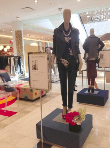 Neiman Marcus Events, Pink Garden Roses, Silver Succulents, White Stock, White Hydrangeas, Leather, Moto Jackets, Skinny jeans, Studded Pumps, Floral Print Tops, Kendra Scott