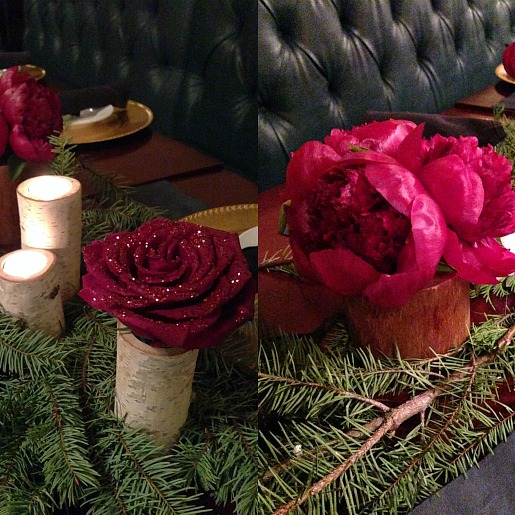 Christmas Table decorations, Christmas Table decor ideas, Posh Floral Designs, Sparkle Roses, Birch vases, Wooden vases, Festive Table Decor, Peonies, Green and Red