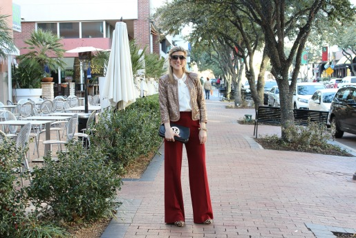 What to wear for NYE, NYE parties in Dallas, Glitter jackets, Red pants, Leopard Booties, Tory Burch Clutch, Jcrew