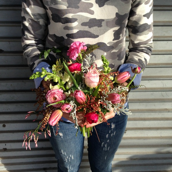 Pink Garden Bouquet | Posh Floral Designs | Amercian Grown Flowers | Camo Shirts | How to wear Camo