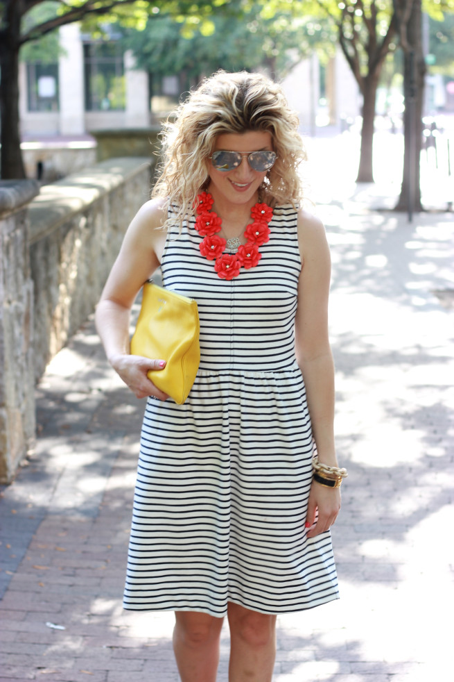 Makeover Monday | Stripe Dress | Rose Necklace | Silver Wedges | Yellow Clutch | Silver Ray Ban | Monogram Necklace | Posh Floral Designs |