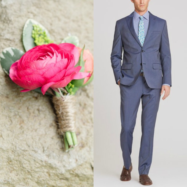 Pink Ranunuculus Boutinere | Bonobos Suits | Suits for Men | Wedding Suits | Posh Floral Designs