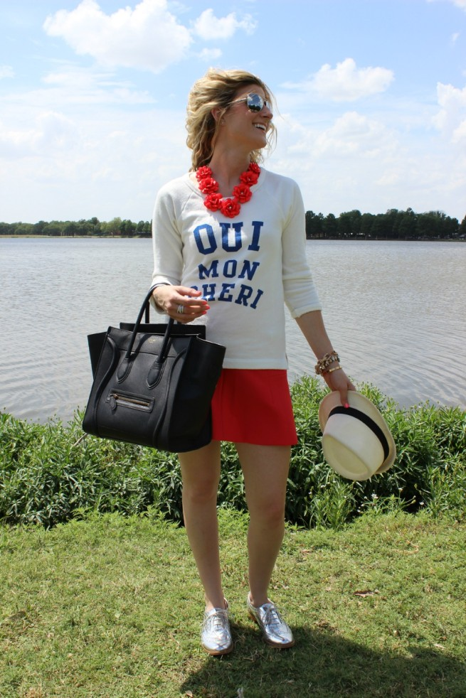 Lake Day Outfit | Graphic Shirts | Red White and Blue Outfits | Summer Outfit Ideas | Fedoras | Posh Floral Designs