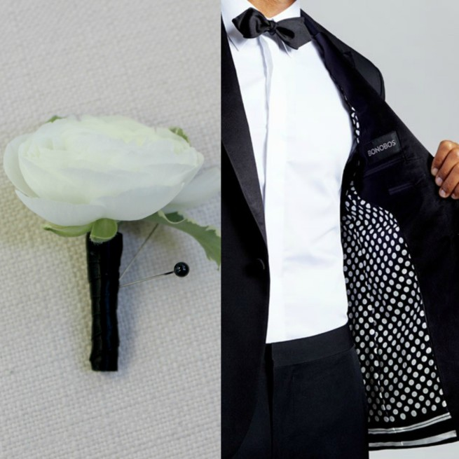 White Ranunculus Boutinere | Tuxedos for Weddings |Bonobos Suits | Suits for Men | Wedding Suits | Posh Floral Designs