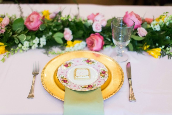 Tea Party Ideas | China Plates | Floral Garland | Posh Floral Designs