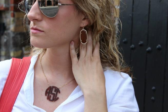 Wooden Earrings | Kendra Scott Elle Earrings | Monogram Necklace