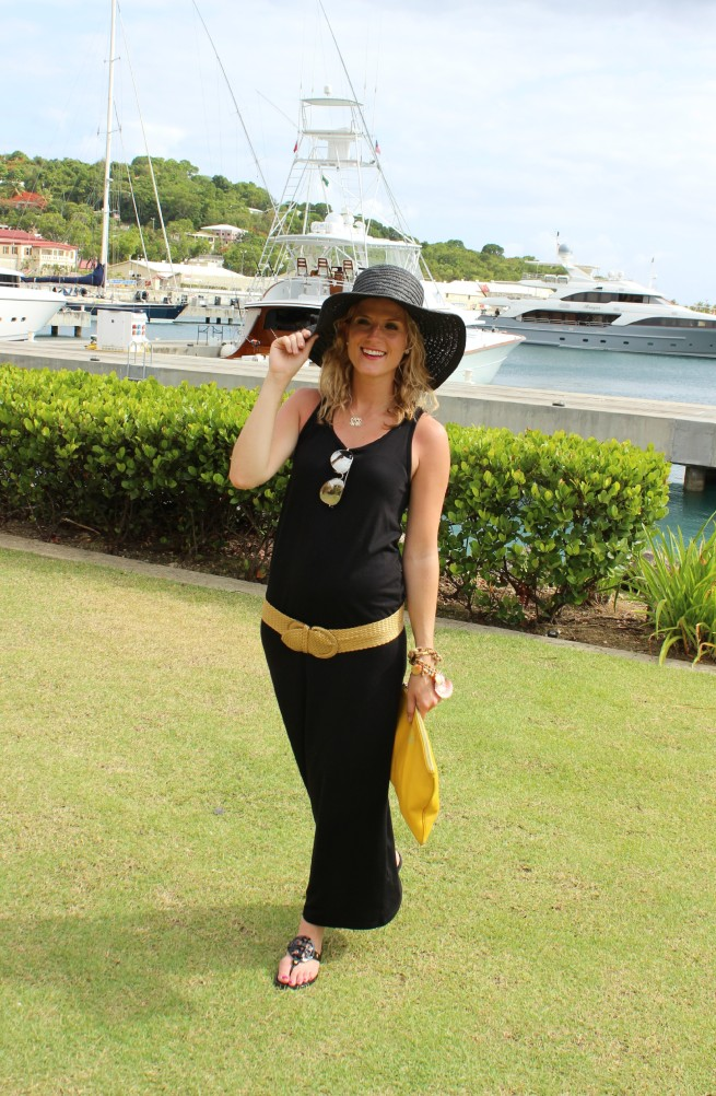 Black Maxi Dress | Black Floppy Hat | Seashell Bracelet | Tory Burch Sandals | Yellow Clutch | Posh Floral Designs