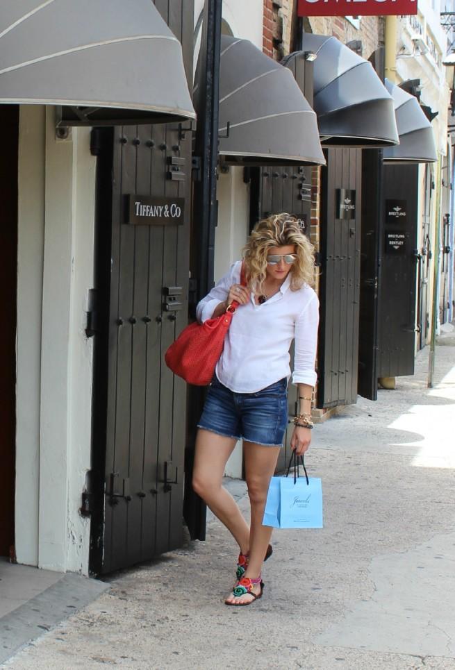 Linen Top | Best Denim Shorts | Coral Tote | Monogram Necklace | Beach Wavey Hair