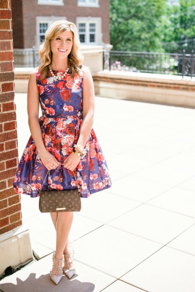 Angie Strange | Floral Dress | Perfect Luncheon Dress | Monogram Clutch | Valentinos
