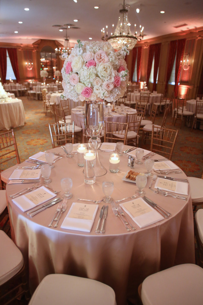 Blush Centerpieces | Posh Floral Designs | Ballroom Wedding