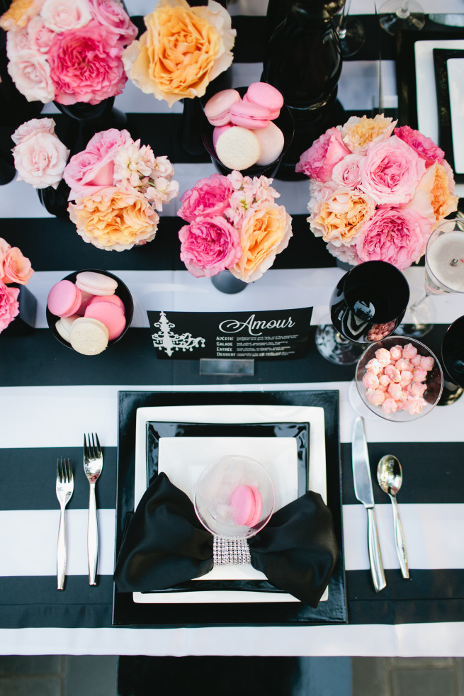 Black and White Linens | Pink and Peach Florals | Macrons | Cotton Candy | Posh Floral Designs | Jillian Zamora Photography