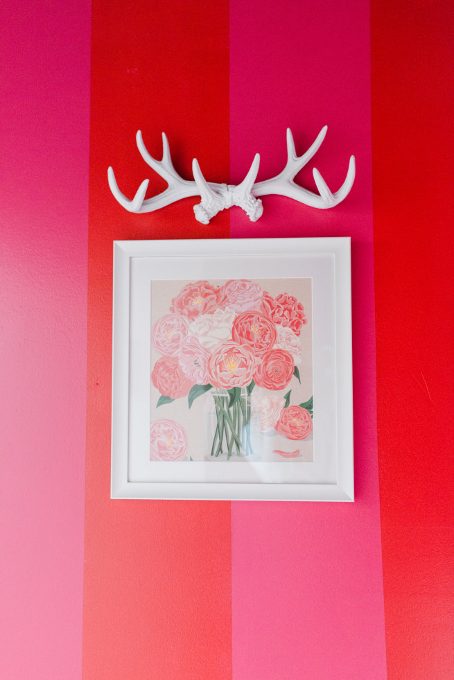 White Antlers | How to make wall Antlers | Peony Pictures | Framed Flower Picture | Red and Pink Stripe Walls | White accents for bathrooms