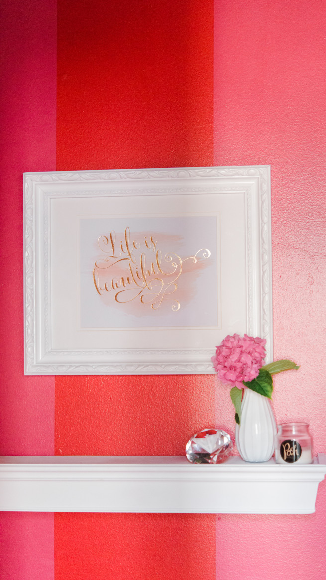 Life is Beautiful Picture | Inspirational Framed Sayings | White Shelf | White Bud Vases