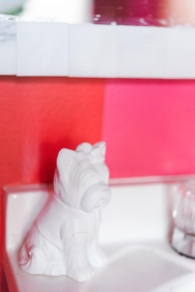Bathroom Decor Ideas   Ceramic Puppy   Tiled Mirror   Posh Floral