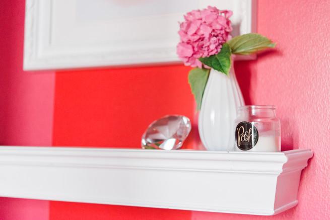 Mini Hydrangeas   White Shelves   DIY White Bud vases   Pink and Red Stripe Walls