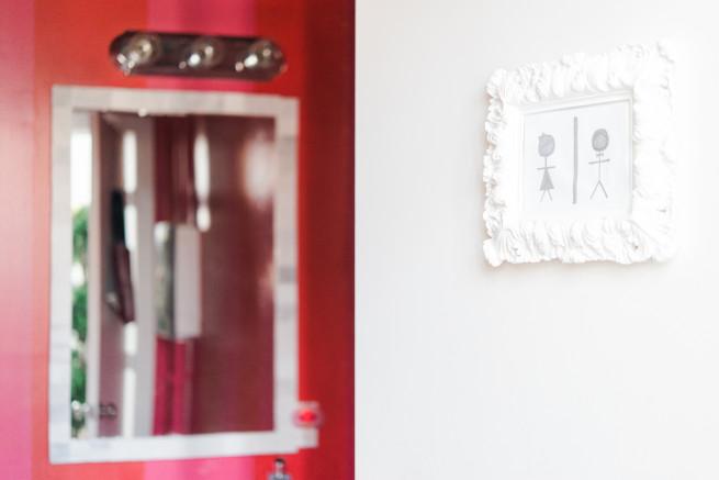 Bathroom Signs   Pink and Red Bathroom   DIY Tiled Mirror   Posh Floral Designs