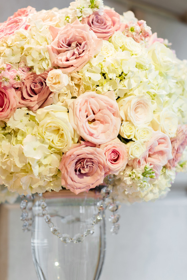 Blush Wedding Flowers | White Hydrangeas | White O'hara Roses | Quicksand Roses