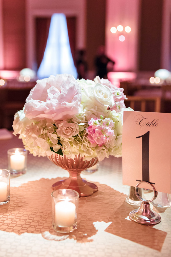 Compote Centerpiece| Rosegold Vases | Blush Peonies | Posh Floral Designs