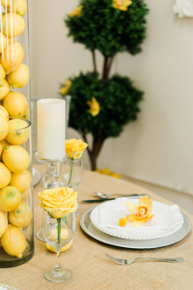 Lemon Centerpieces, Topiary, Yellow Orchids, Yellow Roses, Boxwood Topiary, Posh Floral Designs